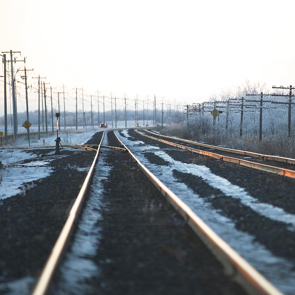 Winnipeg, Manitoba, Canada, Ice Along The Train Tracks