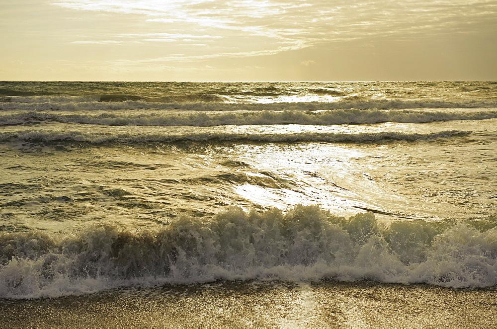Waves Of The Ocean At Sunset, Tarifa, Cadiz, Andalusia, Spain
