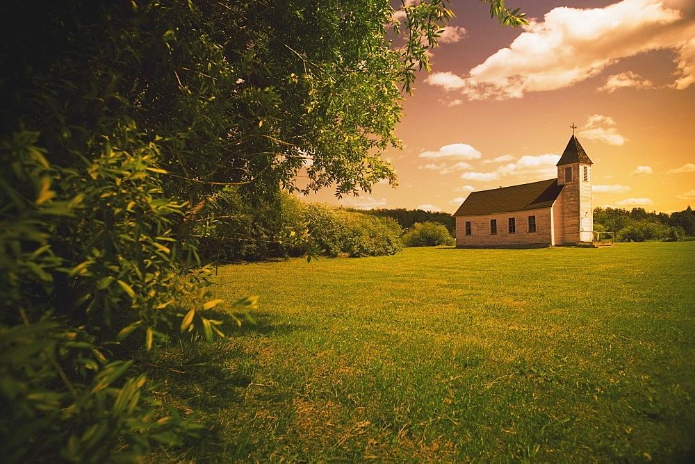 Alberta, Canada, An Old Church In A Field
