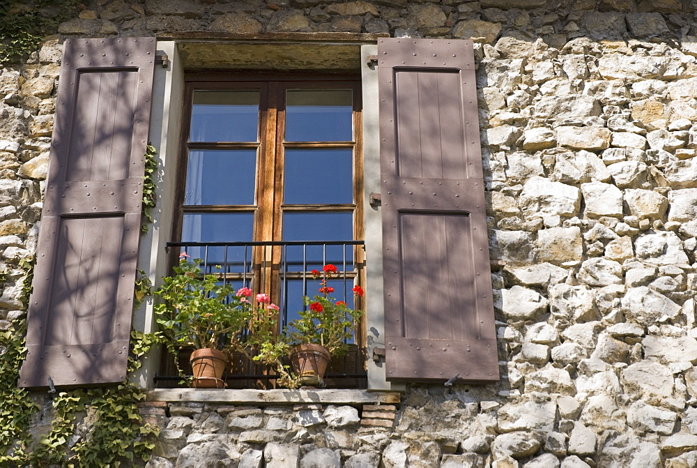 Grenoble, Isère, France, Window Of An Old Stone-Walled European House