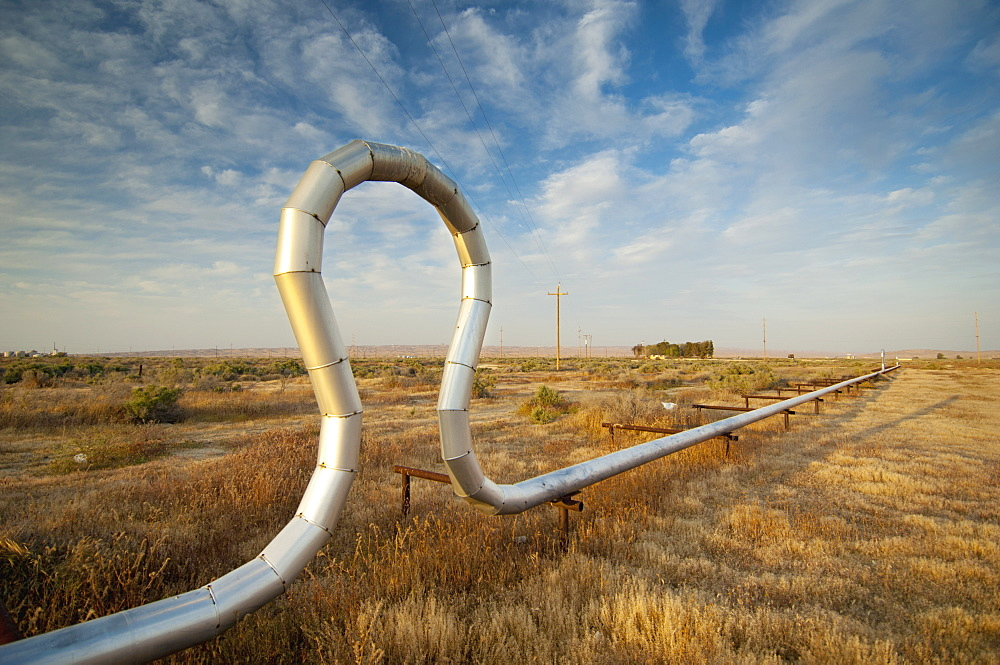 Pipe In A Unique Shape In A Grassy Area, Mckittrick, California, United State of America