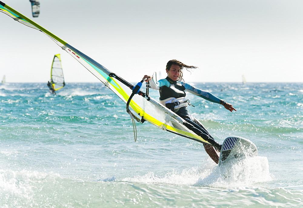 Windsurfing Off Punta Paloma, Tarifa, Cadiz, Andalusia, Spain