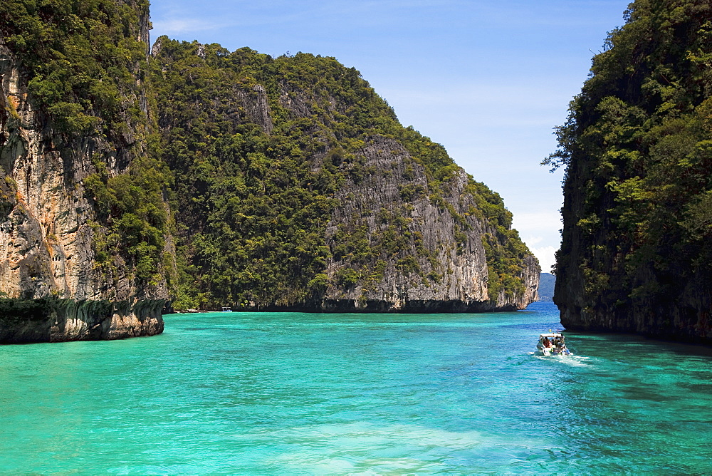 A Snorkeling Boat In The Island Waterway Near Koh Phi Phi, Phuket, Thailand