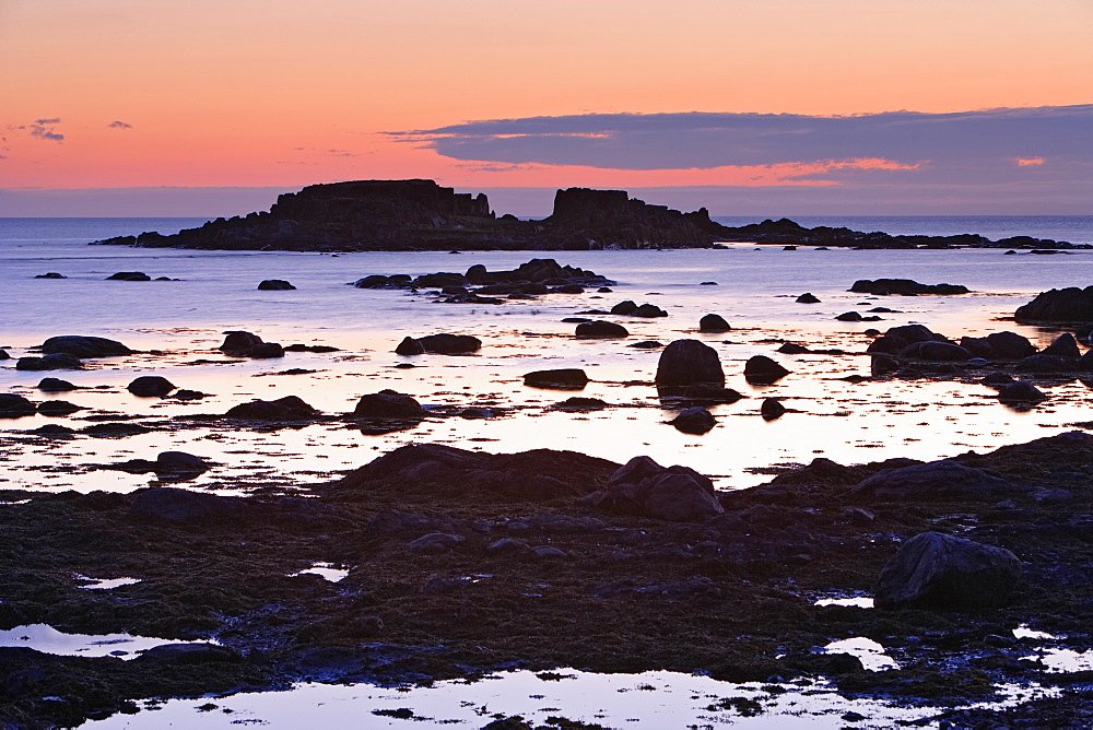 View Of Rock And Sea At Twilight, L'anse Aux Meadows, Newfoundland, Canada