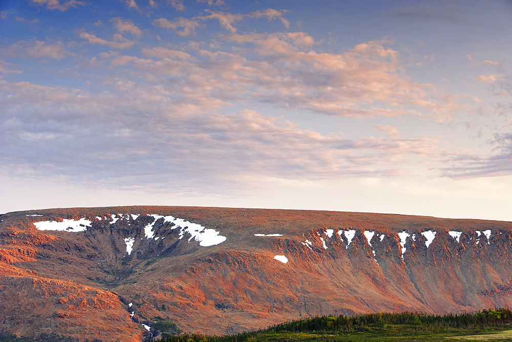View Of Tablelands And Sky From Lookout Trail At Sunset, Gros Morne Np, Newfoundland, Canada