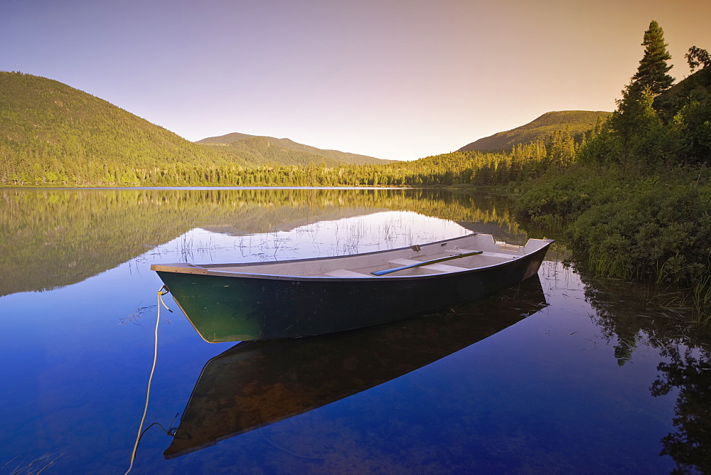 View Of Boat At Lebreux Lake At Sunset, Quebec