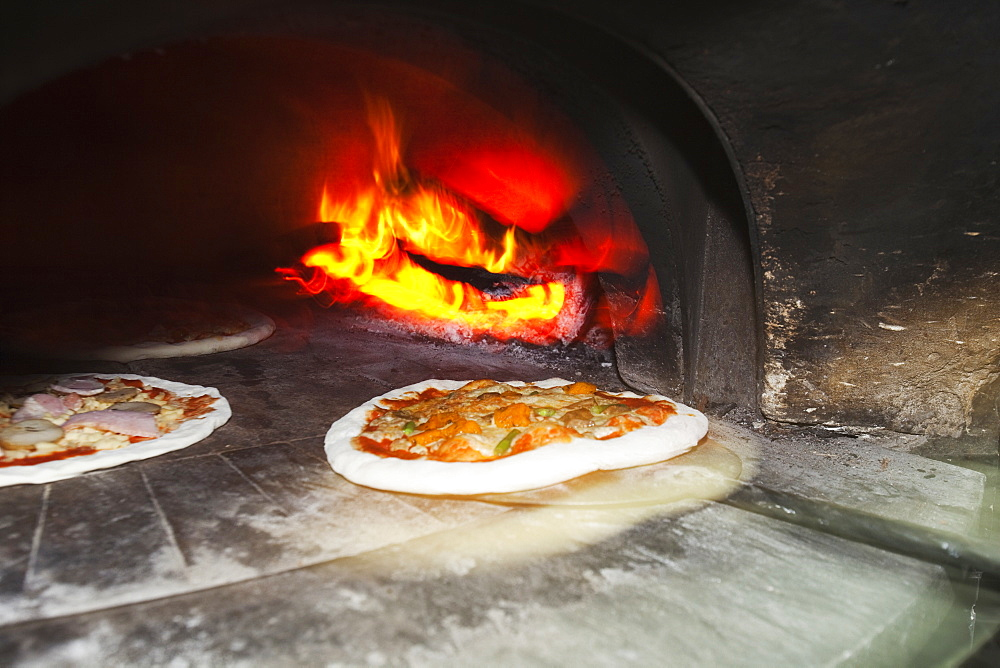 Wood-Fired Oven With Traditional Italian Pizzas Ready To Be Baked, Coolangatta, Queensland, Australia