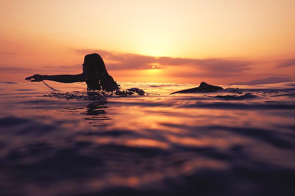 A Woman Paddling On A Surfboard At Sunset, Tarifa, Cadiz, Andalusia, Spain - 1116-41595