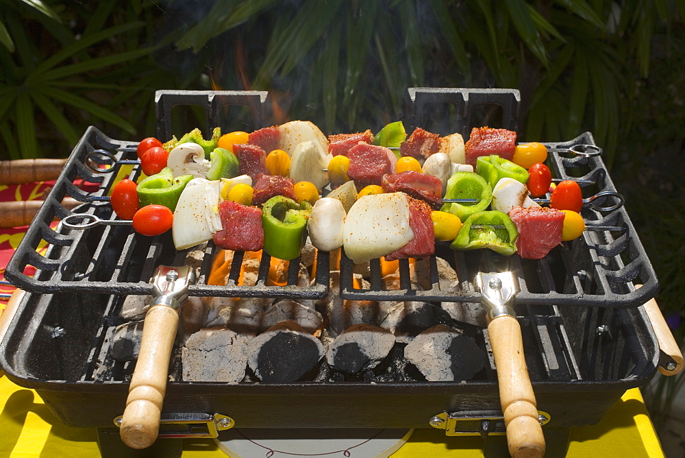 Barbecue Scene, Shish Kabob On The Grill.
