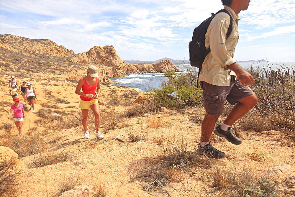Hikers along a scenic desert trail, Baja california sur mexico