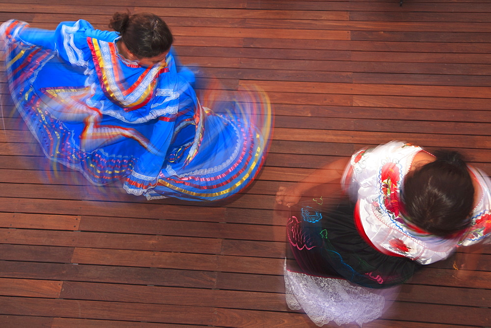 Hispanic Women In Traditional Folkloric Dresses Guaycura Boutique Hotel And Spa, Todos Santos, Baja California, Mexico