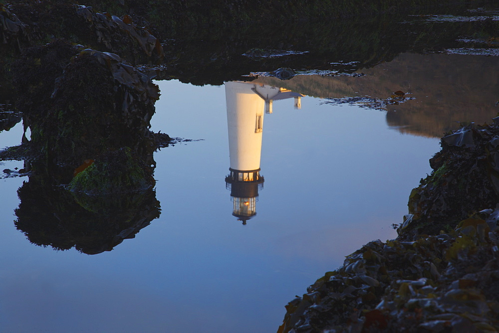 Yaquina Head Lighthouse Reflected In The Water, Newport, Oregon, United States of America