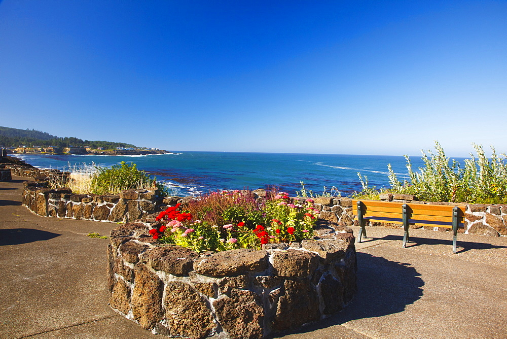 Flowers And Benches Along The Coast, Depoe Bay, Oregon, United States of America