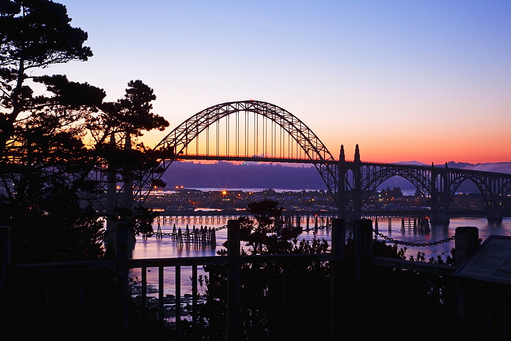 Sunrise Over Newport Bridge, Newport, Oregon, United States of America
