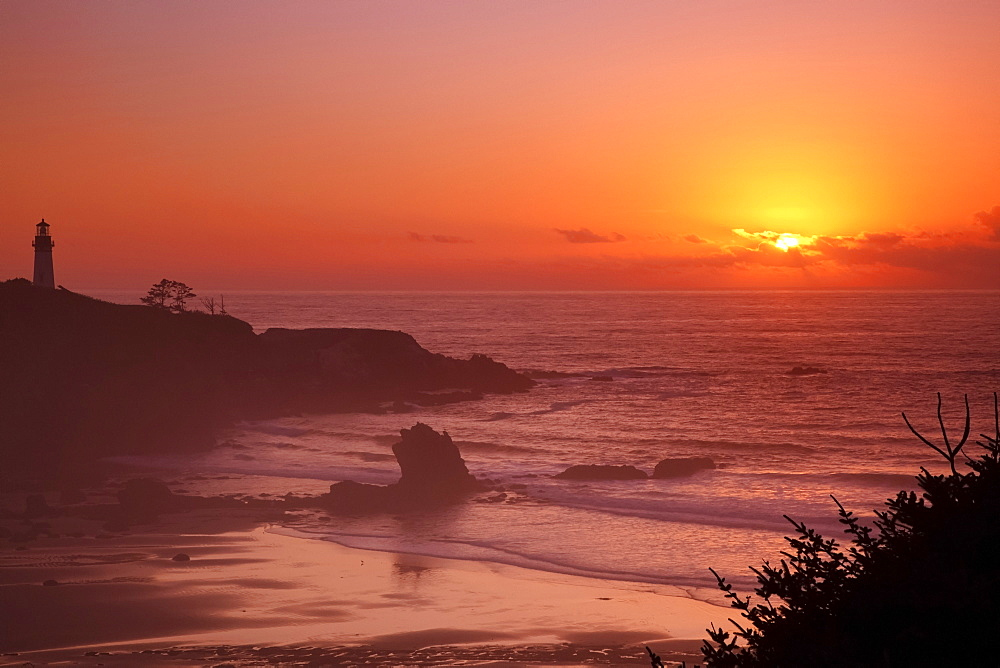 Sunset Over Yaquina Head Lighthouse, Newport, Oregon, United States of America