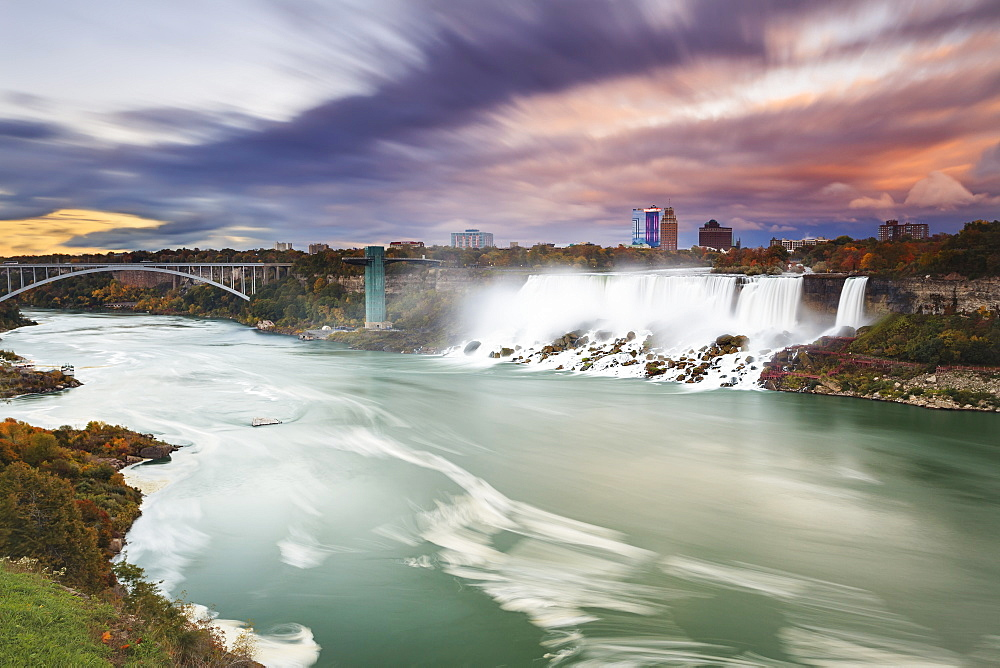 American falls and niagara river at dusk, Niagara falls new york united states of america
