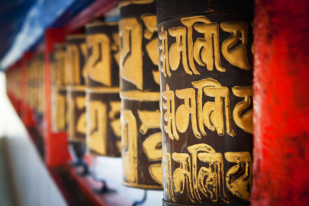 Decorative wall in red and gold, Gangtok sikkim india - 1116-41675