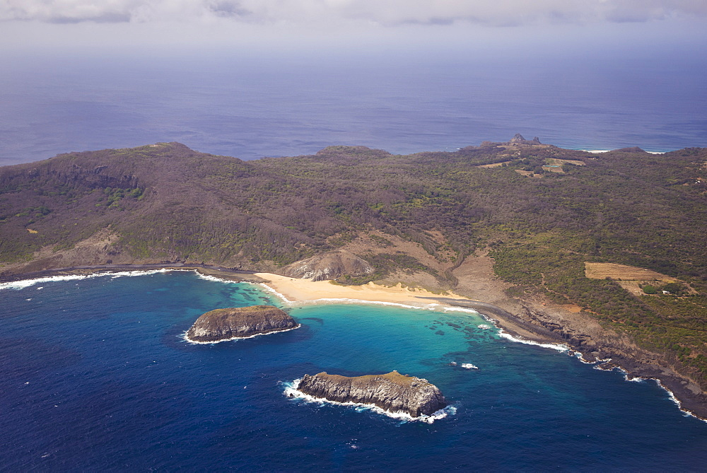 Aerial View Of The Coastline, Praia Do Leao Fernando De Noronha Pernambuco Brazil