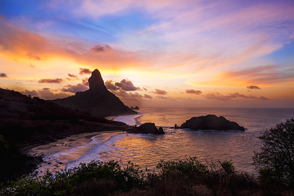 Views of morro do pico at sunset from forte dos remedios, Fernando de noronha pernambuco brazil
