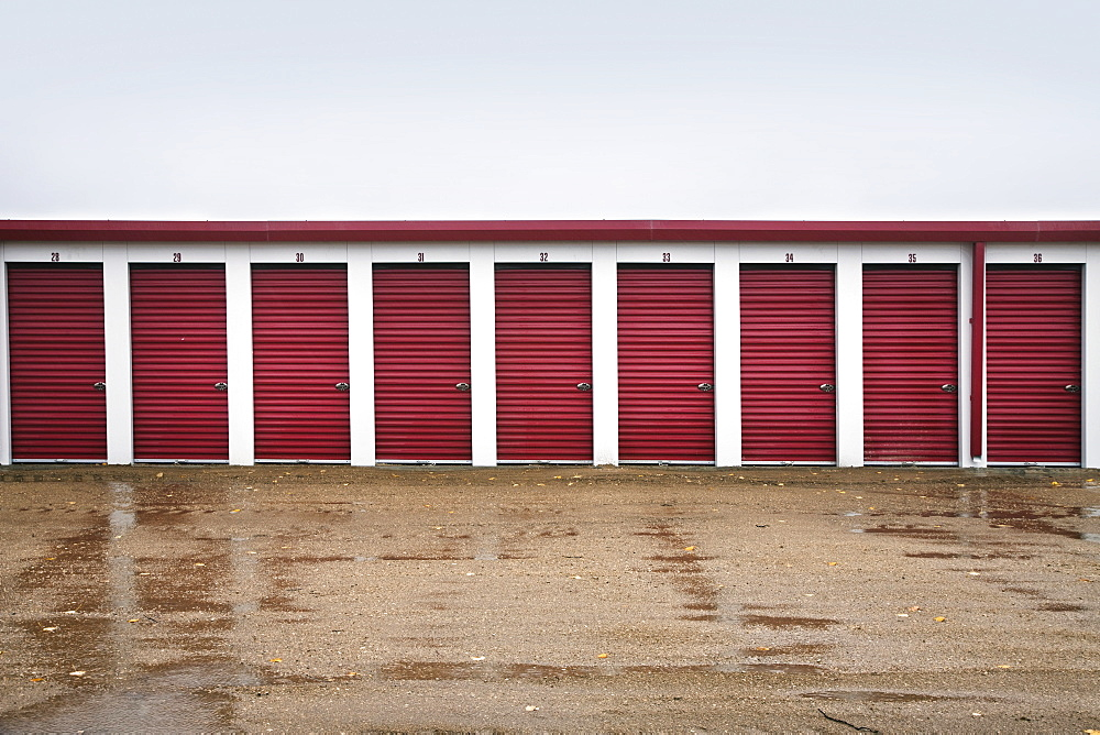Storage units with red doors, Canada