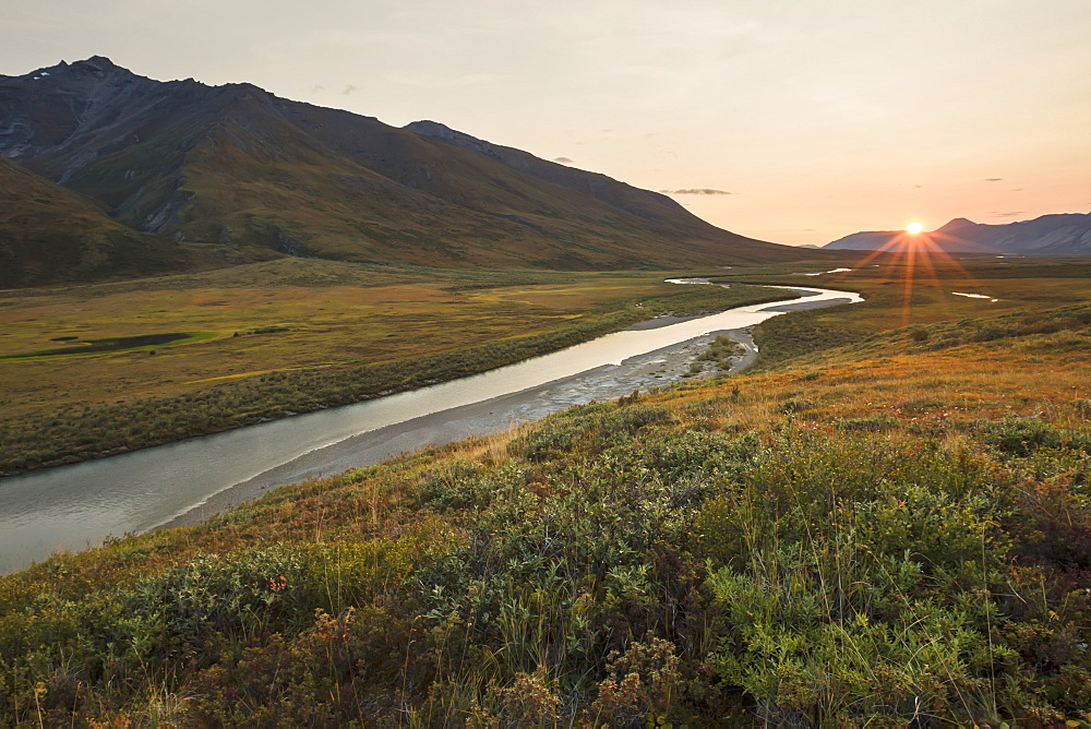 Noatak River And The Brooks Range At Sunset, Gates Of The Arctic National Park, Northwestern Alaska, Alaska, United States Of America