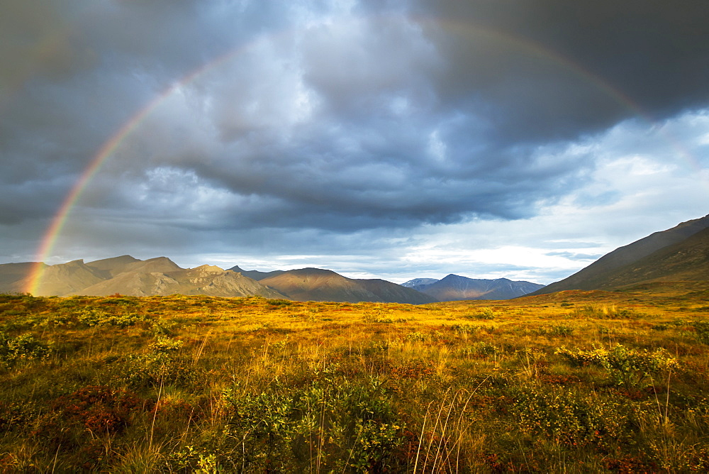 A Rainbow In The Sky Over Brooks Range, Gates Of The Arctic National Park In Northwestern Alaska, Alaska, United States Of America