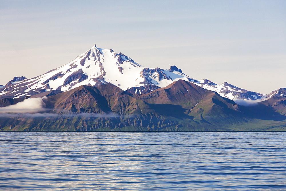 Frosty Peak Volcano On The Alaska Peninsula In Summertime, Southwest Alaska, United States Of America