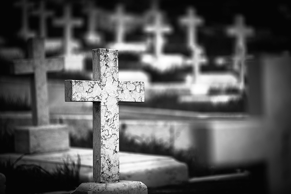 A cross tombstone in a cemetery, Jerusalem israel