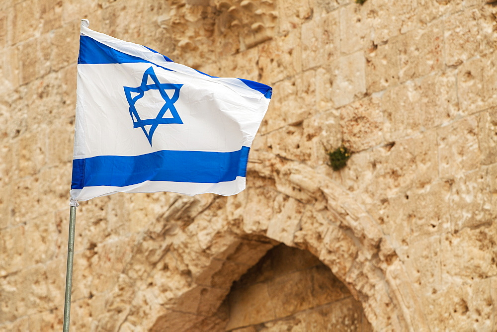 Israeli flag with the star of david, Jerusalem israel