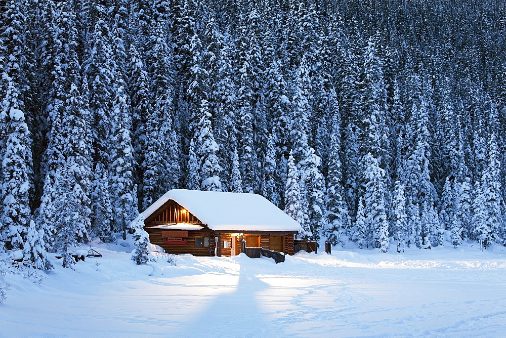 A snow covered log cabin on a snow covered lakeshore surrounded by evergreen trees at dusk, Lake louise alberta canada