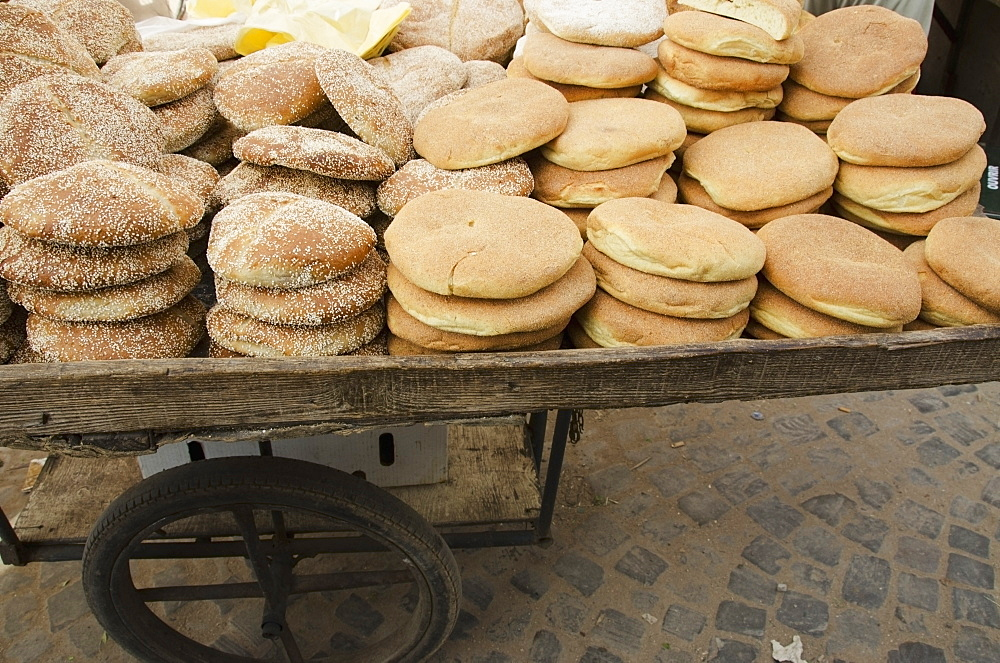 Bread for sale on a cart, Casablanca morocco