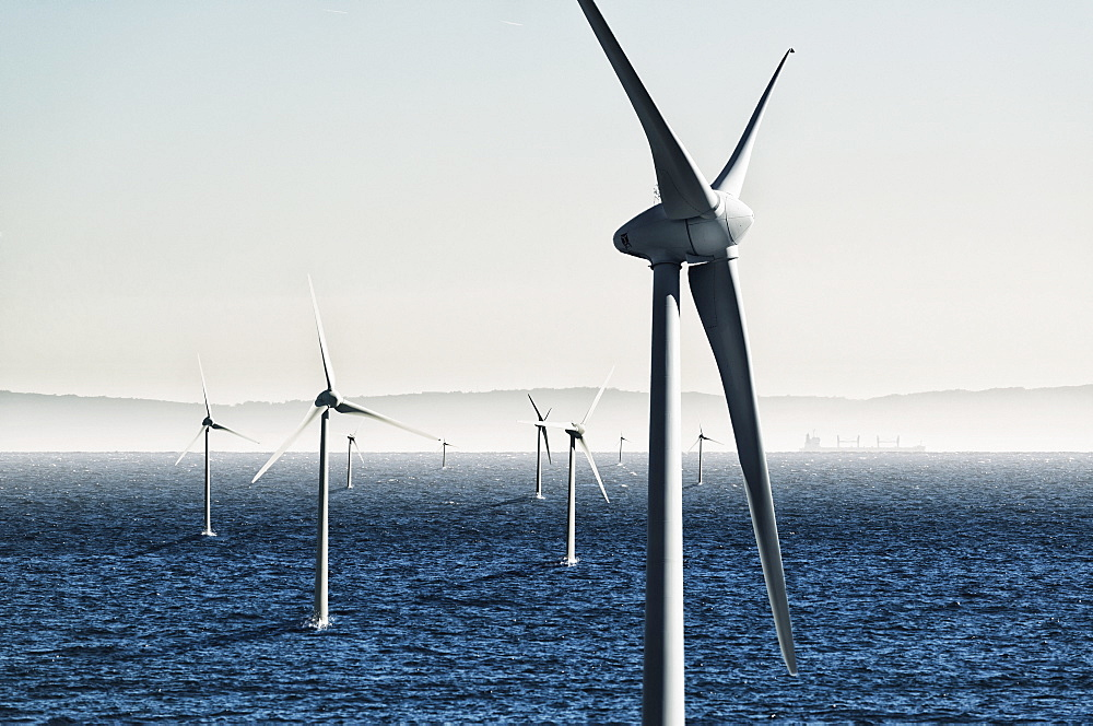 Digital composite of wind turbines on the water, Tarifa cadiz andalusia spain - 1116-41837