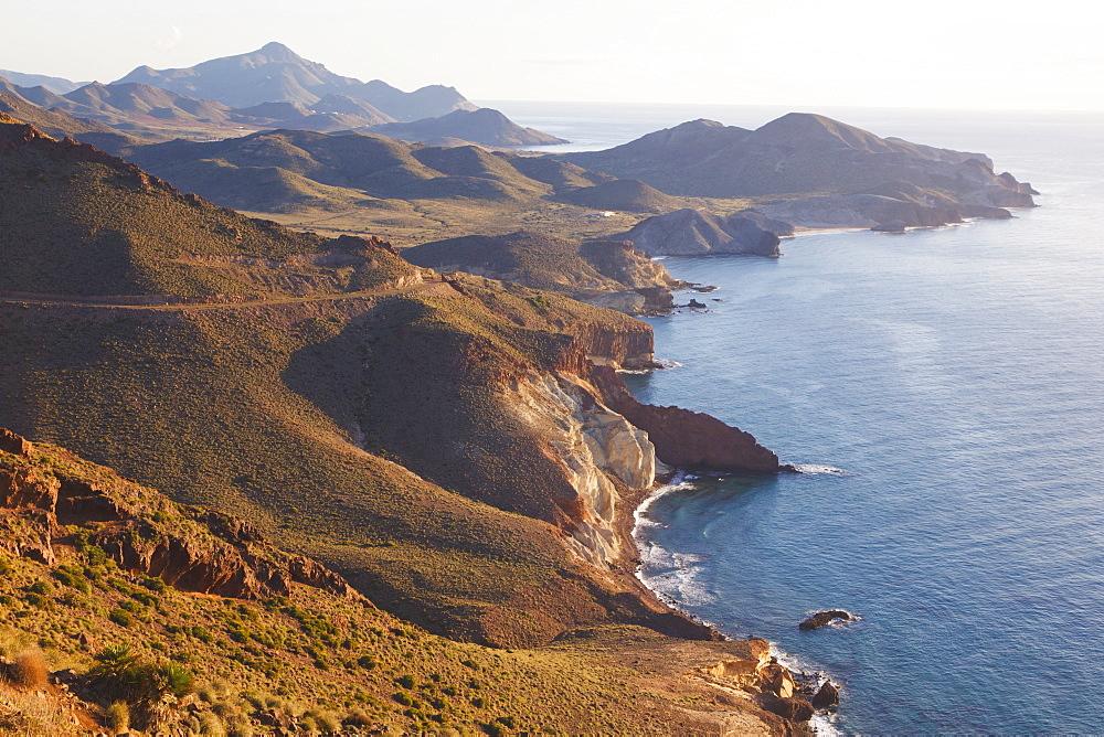 Looking East Along The Unspoiled Coastline Of Cabo De Gata-Nijar Natural Park, Almeria Province, Spain