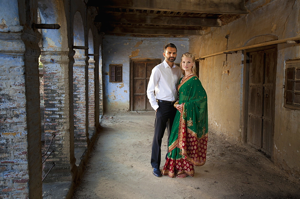 Portrait Of A Mixed Race Couple Her Wearing A Sari, Ludhiana, Punjab, India