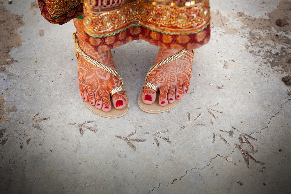 Bare Feet Decorated In Mehndi, Ludhiana, Punjab, India