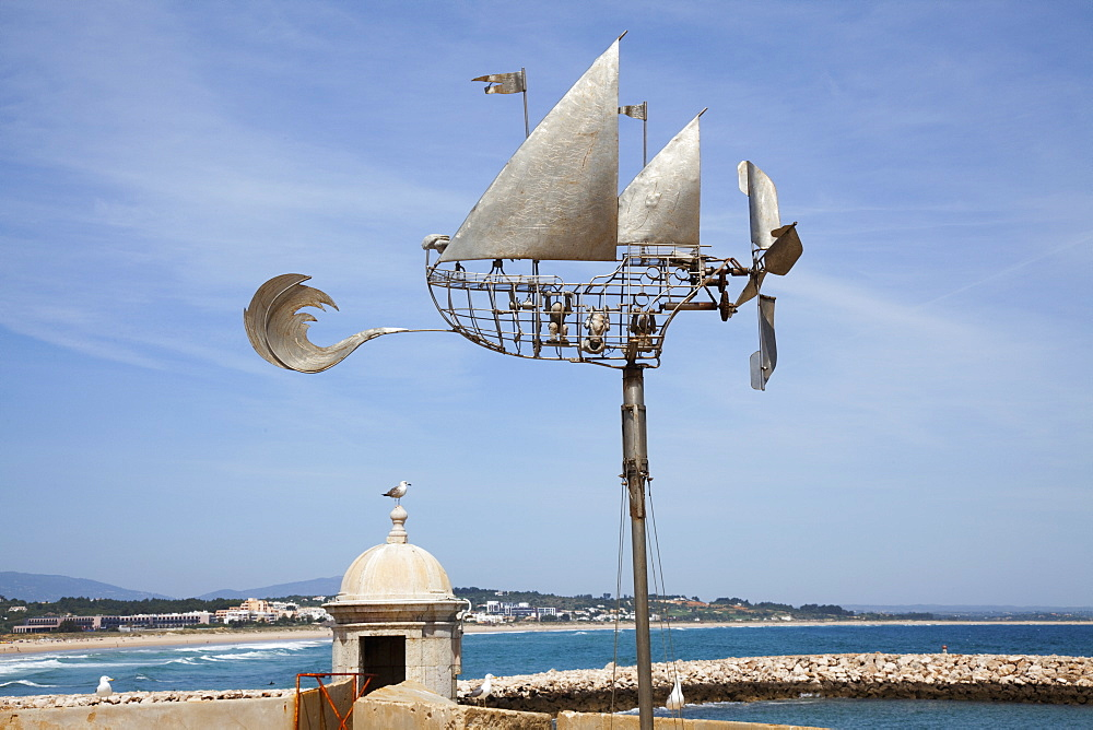 Sculpture Of A Sailboat Along The Coast, Lagos Algarve, Portugal