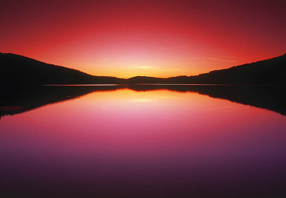 Reesor Lake At Sunset, Cypress Hills Interprovincial Park, Alberta, Canada