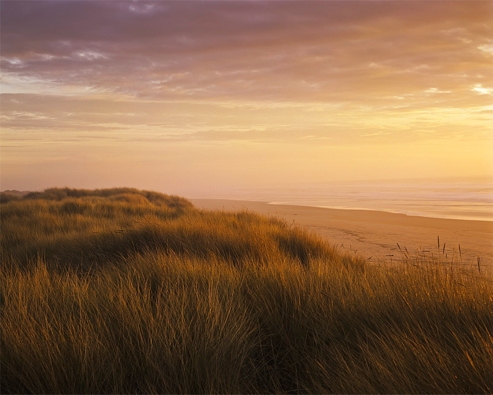 Sunset Light Bathes Umpqua Beach, Winchester Bay, Oregon, United States Of America