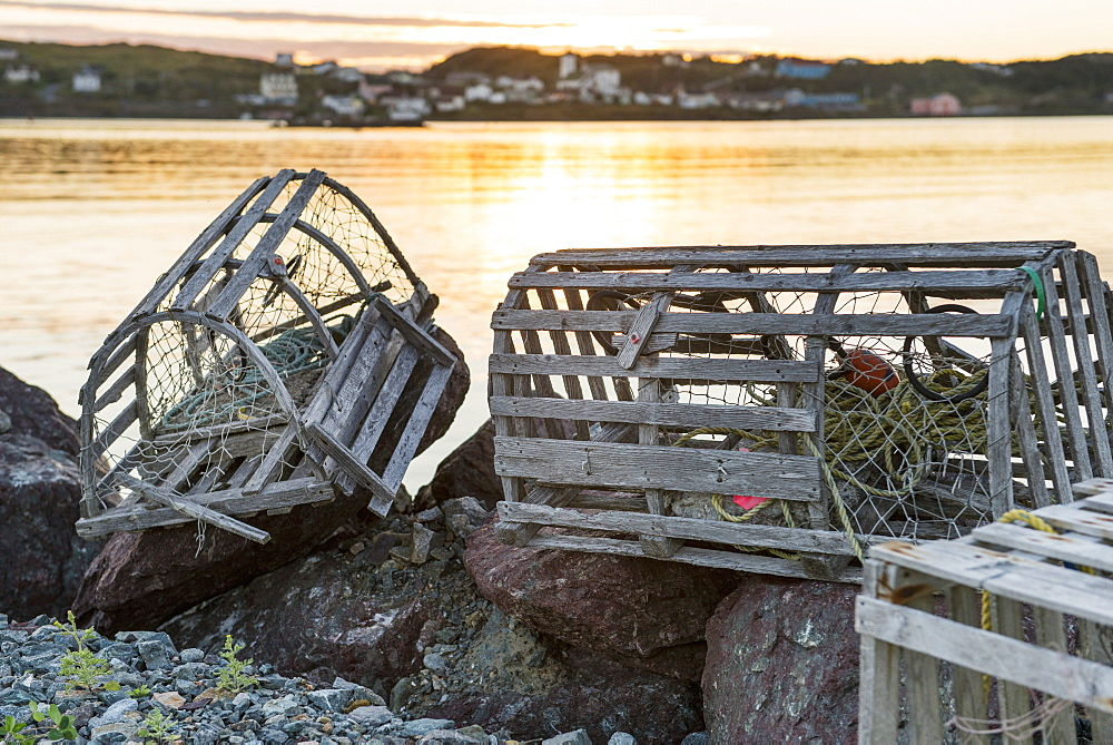Fishing Traps On The Rocks At The Water's Edge, Twillingate, Newfoundland And Labrador, Canada