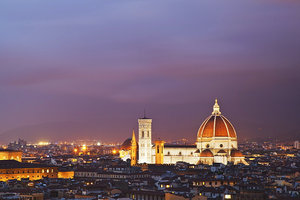 Florence Cathedral Illuminated At Dusk, Florence, Tuscany, Italy
