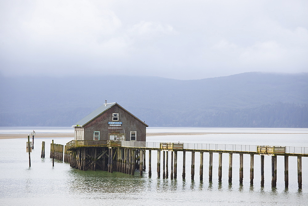 Dock In The Water With A Shack, Oregon, United States Of America