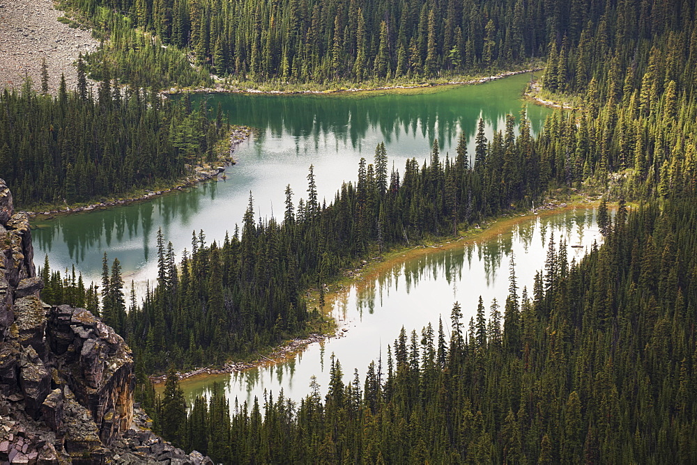 Two Small Alpine Lakes Viewed From Above, British Columbia, Canada