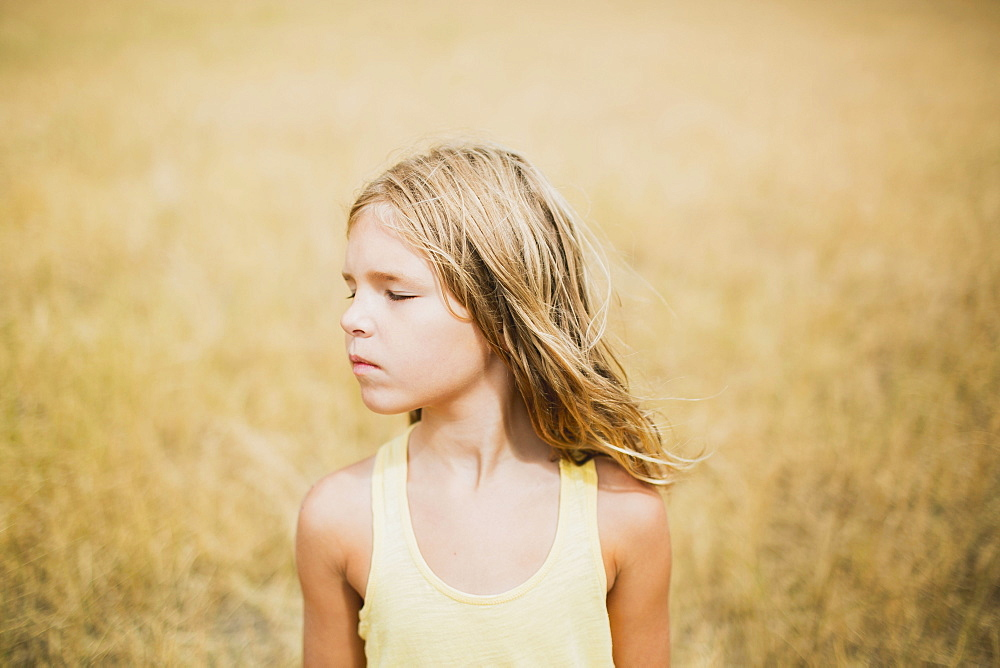 Portrait Of A Girl In A Golden Field, Peachland, British Columbia, Canada