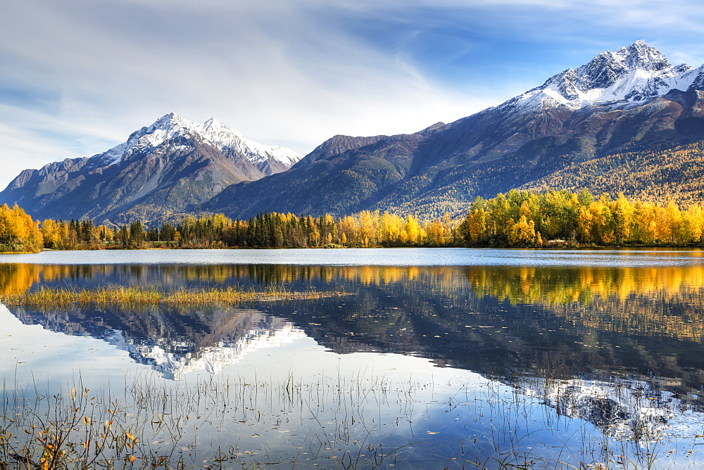 The Snowcapped Chugach Mountains And Autumn Foliage Reflecting In Reflections Lake Along The Glenn Highway In The Matanuska Susitna Valley, Alaska, United States Of America - 1116-42328