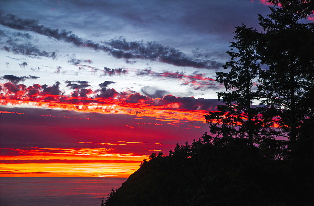The Sunset At Oswald West State Park, Manzanita, Oregon, United States Of America