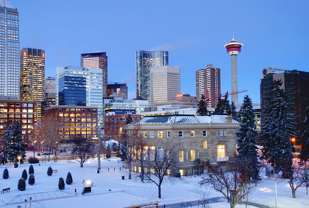 Winter Scene Of A City Plaza At Dusk, Calgary, Alberta, Canada