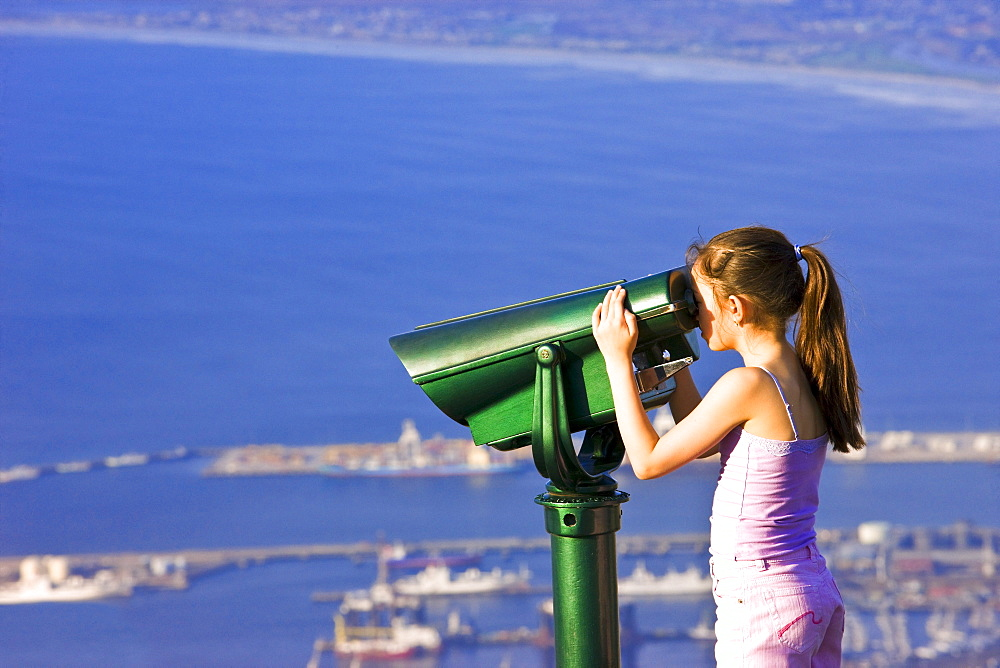 Girl Looking Through Binoculars At Cape Town, Table Mountain, South Africa, Africa