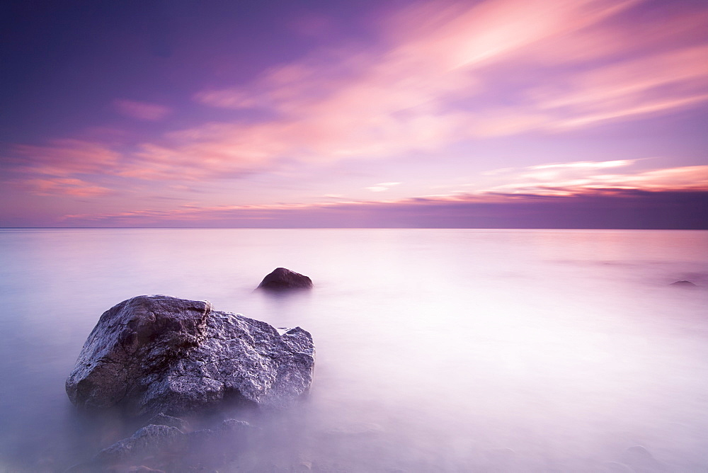 Long Exposure Makes The Water Of Lake Michigan Into Mist On A Cloudy Morning, Wisconsin, United States Of America