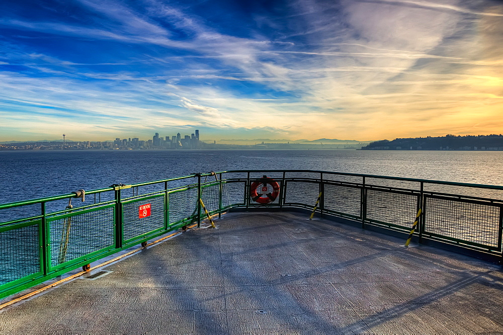 View Of Seattle From A Washington State Ferry, Seattle, Washington, United States Of America