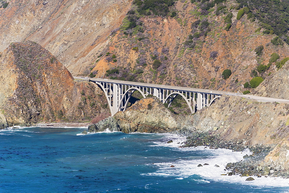 Big Creek Bridge From California Route 1 On The Big Sur Coast, Big Sur, California, United States Of America